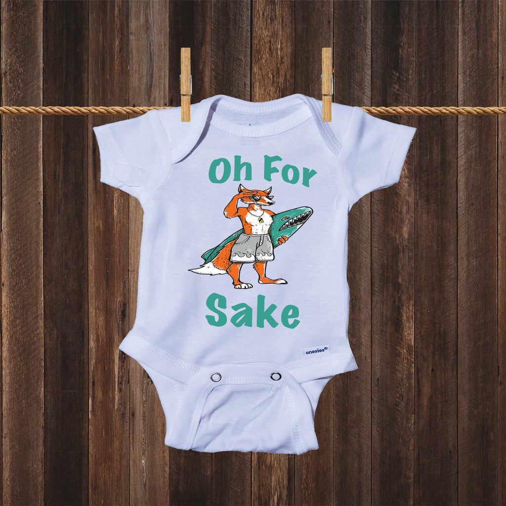 Oh For Fox Sake Cute Fox Surfing Themed Onesie® Bodysuit