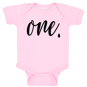 Ink Trendz® ONE. First Birthday Milestone Outfit Baby Bodysuit Romper