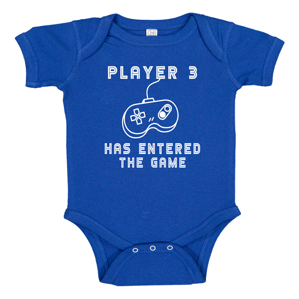 Ink Trendz® Player 3 Has Entered the Game Gamer Funny  Novelty One-Piece Baby Bodysuit