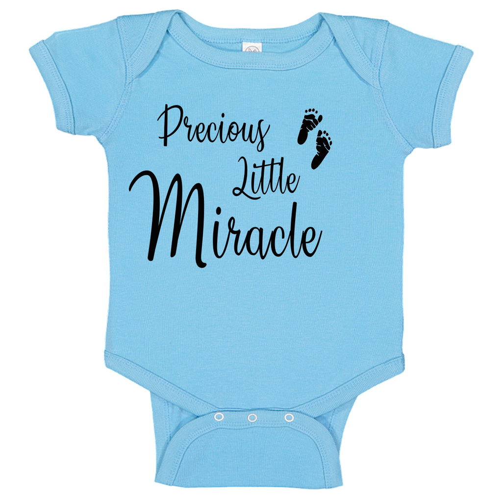 Precious Little Miracle Baby Boy Blue  Fertility Foot Prints Baby Bodysuit Romper