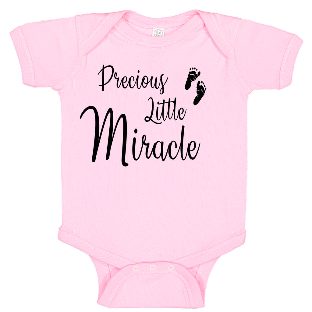 Precious Little Miracle Baby Girl Pink Fertility Foot Prints Baby Bodysuit Romper