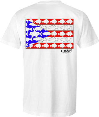 LPG Apparel Co. Puerto Rican Inshore Porgy Bluefish Bass Fish Flag T-Shirt