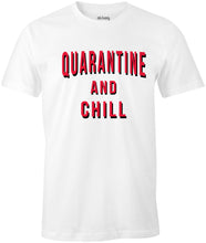 Load image into Gallery viewer, Ink Trendz® Quarantine And Chill Coronavirus est. 2020 Funny Covid-19 T-Shirt Netflix Tee, Netflix T-Shirt in White