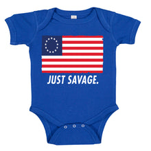 Load image into Gallery viewer, Just Savage. Betsy Ross Patriotic Premium Baby Romper Bodysuit