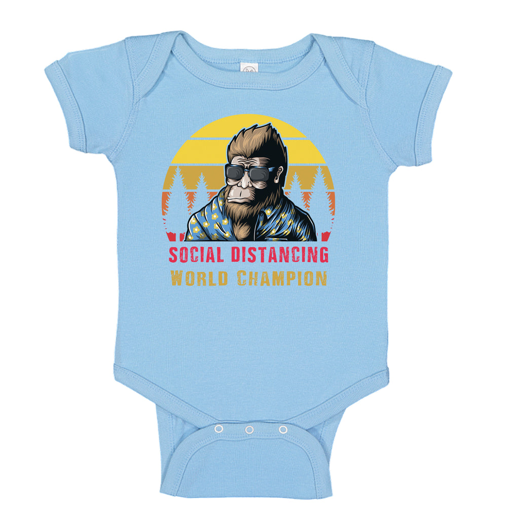 Ink Trendz® Bigfoot  Social Distancing World Champion Quarantine COVID-19  Baby-Toddler One-piece Bodysuit Onesie, Social Distance onesie, Pandemic Onesie