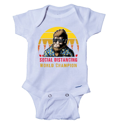 Ink Trendz® Bigfoot Social Distancing World Champion Pandemic Baby-Toddler One-piece Onesie® Pandemic Onesie, Corona Virus Onesie, Bigfoot Onesie