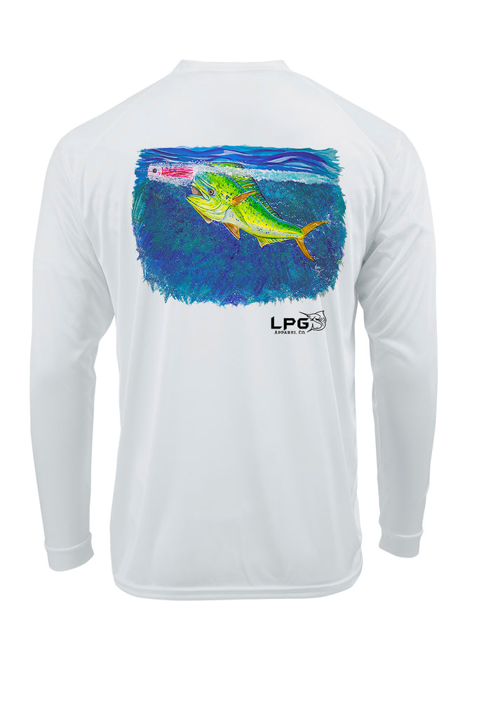 LPG Apparel Co. Screamin' Mahi-Mahi Fishing Shirt for Unisex UPF 50 Dri-Fit Performance Rashguard T-Shirt, Fishing T-Shirt, Mahi T-Shirt