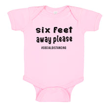 Load image into Gallery viewer, Ink Trendz® Six Feet Away Please Social Distancing Quarantine   Baby-Toddler One-piece Bodysuit Pink