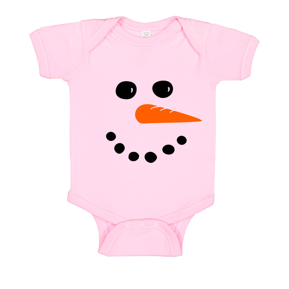 Winter Snowman Carrot Face Christmas Baby Bodysuit