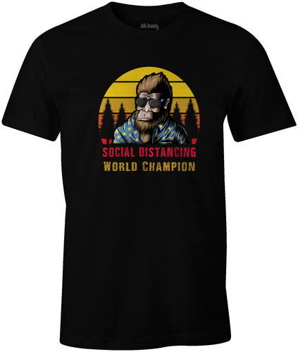 Ink Trendz® Bigfoot Social Distancing World Champion Quarantine est. 2020 Funny Covid-19 T-Shirt