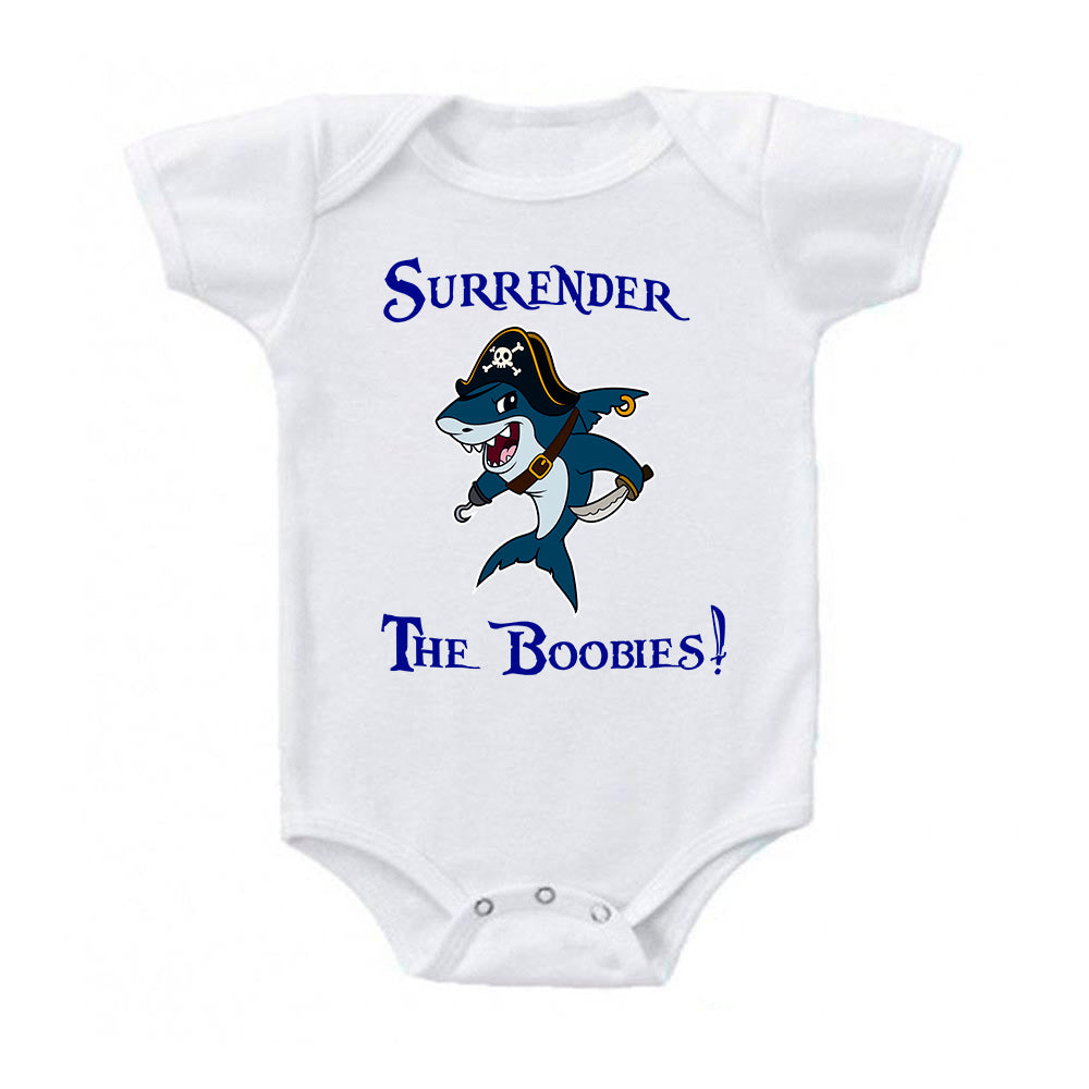 Surrender The Boobies Pirate Shark Baby Bodysuit