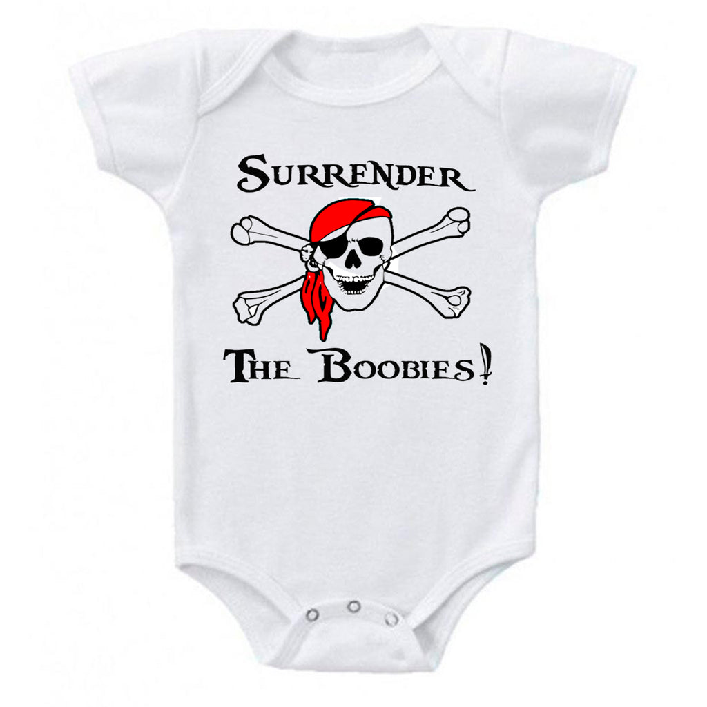 Surrender The Boobies Pirate Jolly Roger Red Bandana Baby Bodysuit