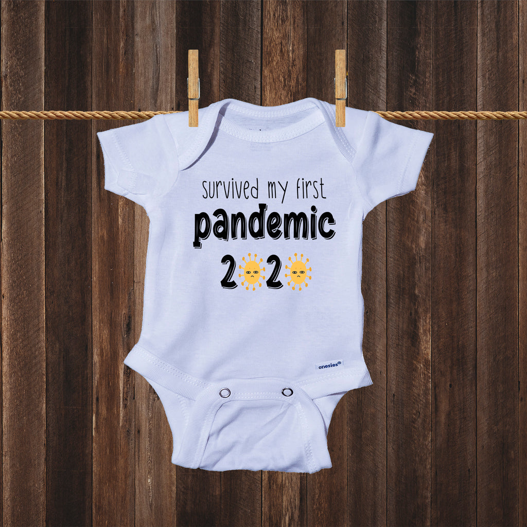 Ink Trendz® Survived My First Pandemic Green Virus Quarantine Baby Onesie® Corona Virus Onesies CoronaVirus Apparel, Coronavirus Onesies, Covid19 Onesie
