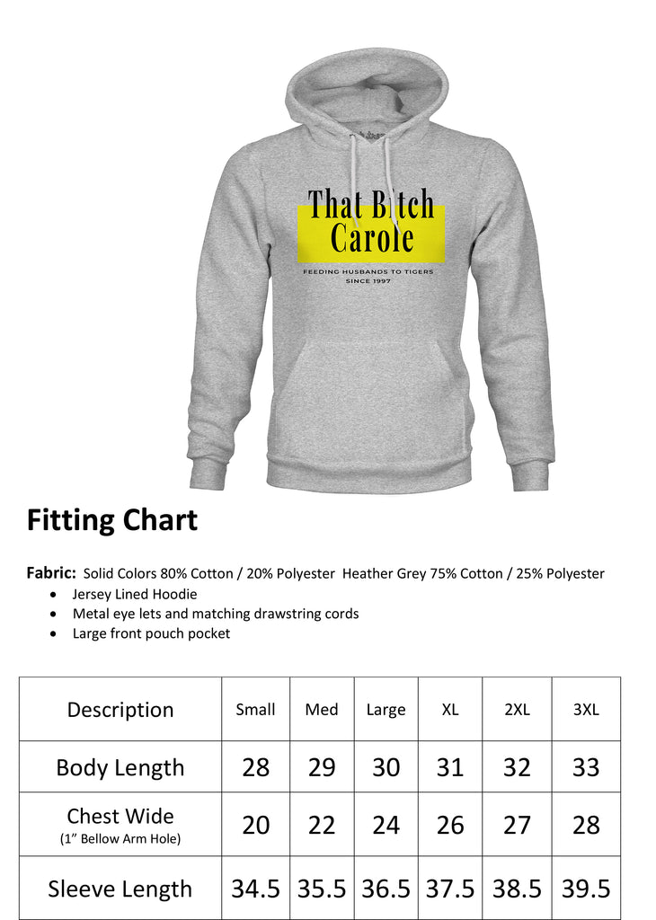 Ink Trendz® That Bitch Carole Feeding Husbands to Tigers Since 1997 Funny Hoodie Sweatshirt