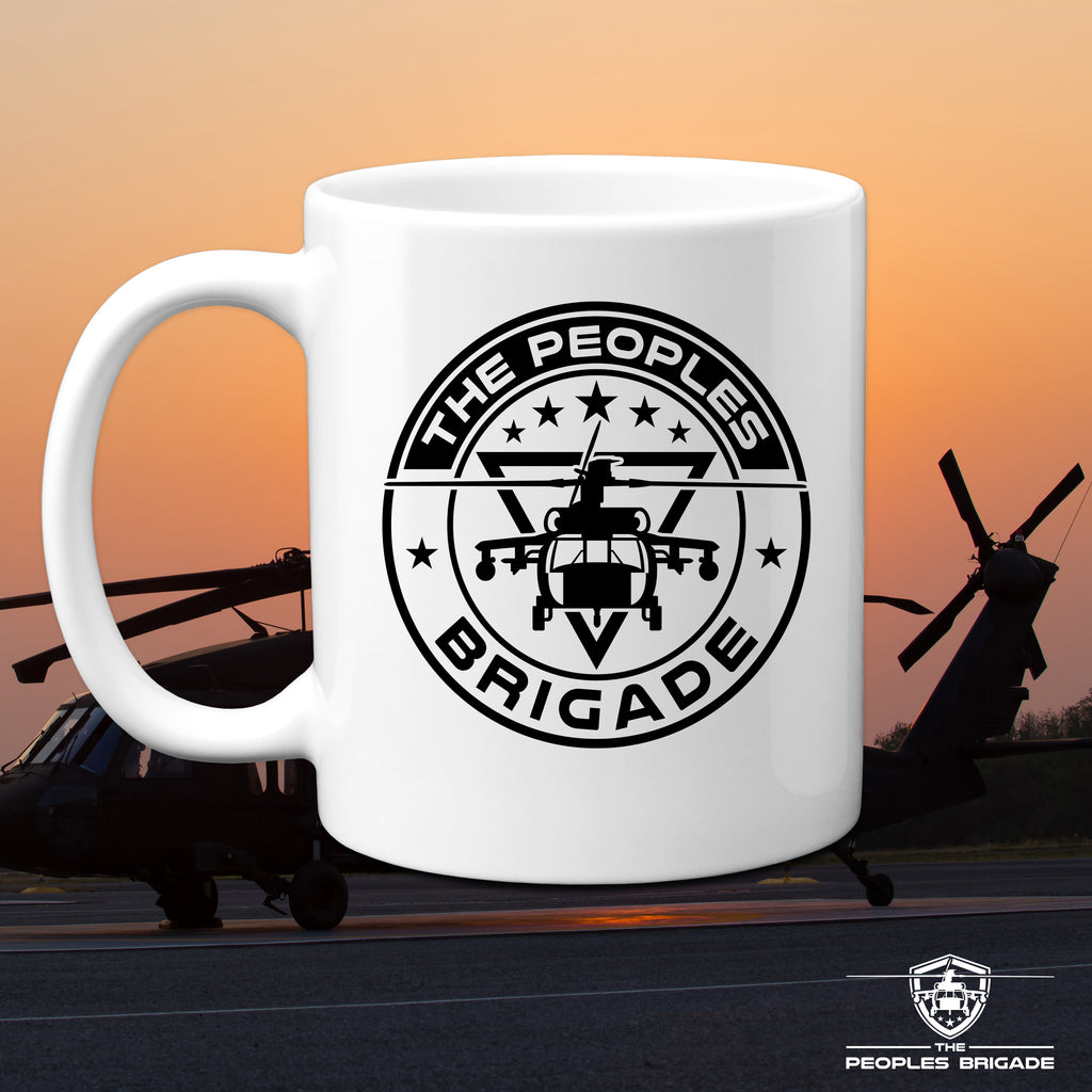 The Peoples Brigade Black Hawk Circle Logo 11 Oz. Coffee Mug Cup, Patriotic Coffee Mug, Blackhawk Helicopter Mug, Veteran Mug, Military Mug