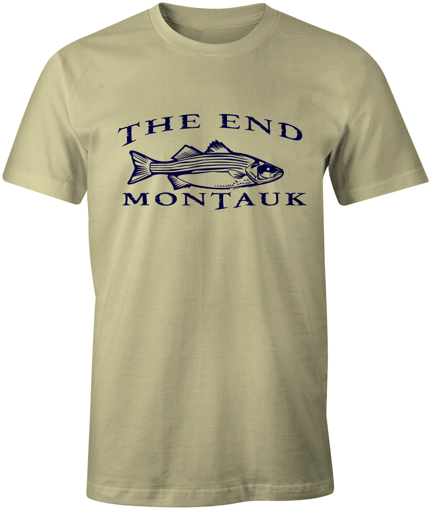 MONTAUK THE END Striped Bass Fishing Tee T-Shirt