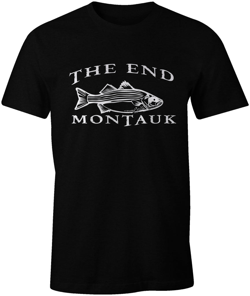 Ink Trendz® Montauk The End Striped Bass Fishing Tee T-Shirt