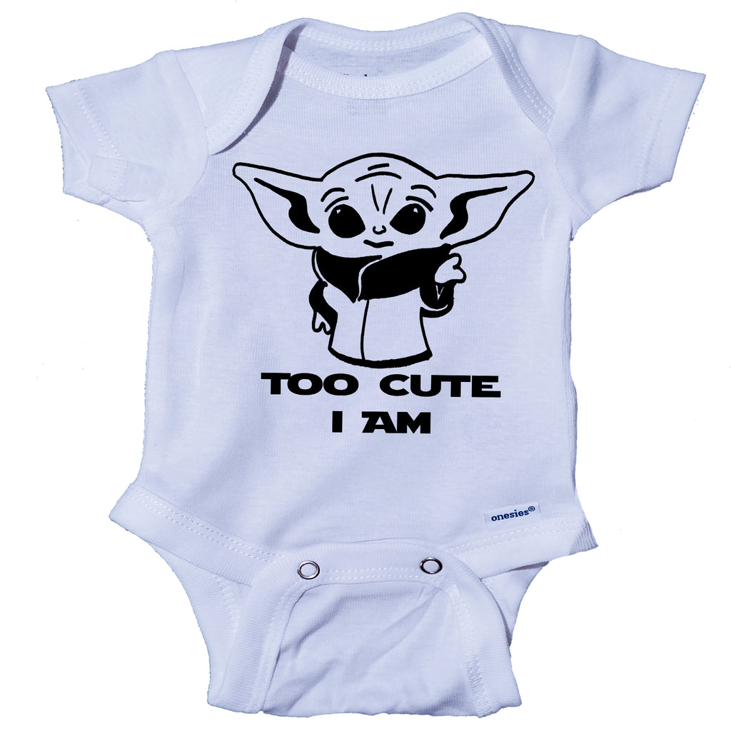 Ink Trendz® Too Cute I Am Funny Baby Onesie® One-Piece Bodysuit Cute Baby Yoda star wars themed Onesies