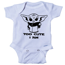 Load image into Gallery viewer, Ink Trendz® Too Cute I Am Funny Baby Onesie® One-Piece Bodysuit Cute Baby Yoda star wars themed Onesies
