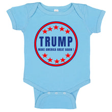 Load image into Gallery viewer, TRUMP Make America Great Again Patriotic Circle Logo  Baby Bodysuit