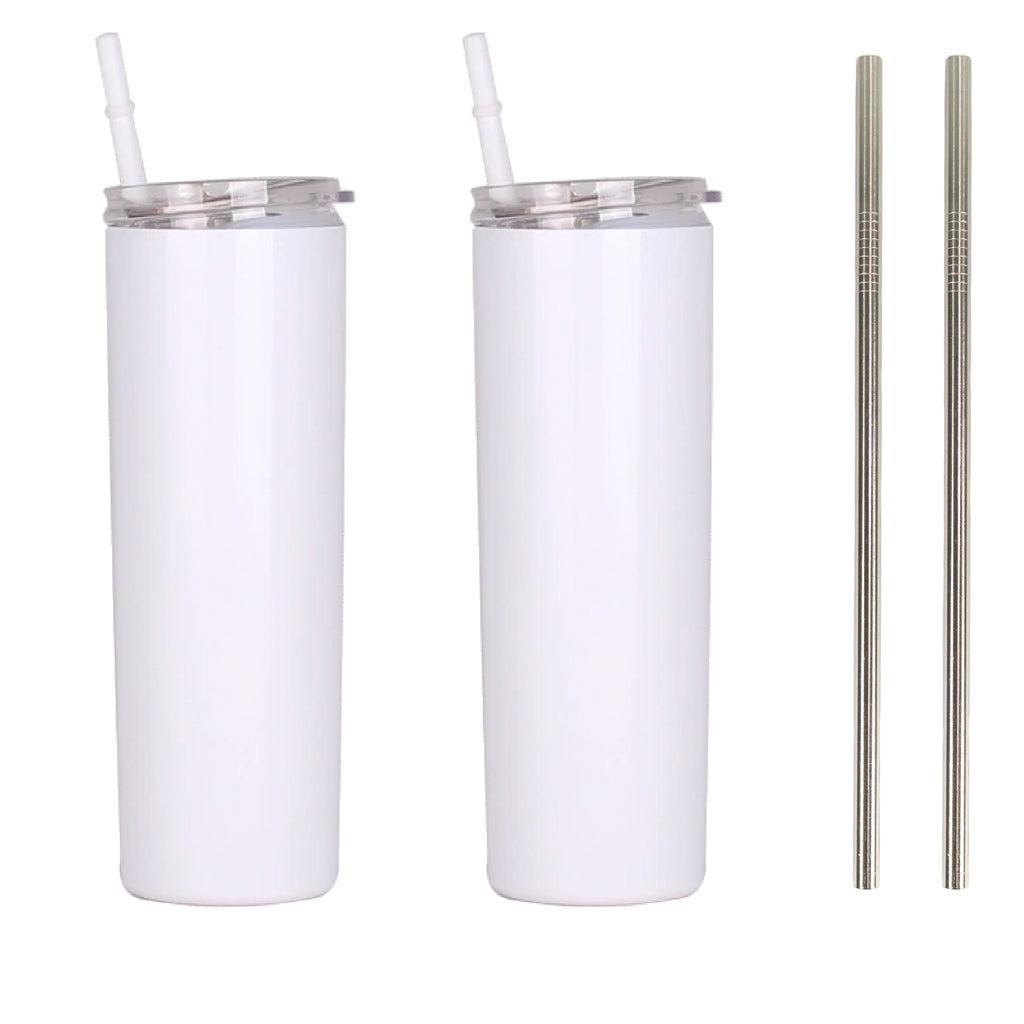 Blank STRAIGHT 20 oz Gloss White Sublimation Tumbler (Non-Tapered) with Straw and Heat-shrink, Sublimation Blank, Sublimation Wholesale Blanks, Sublimation DIY