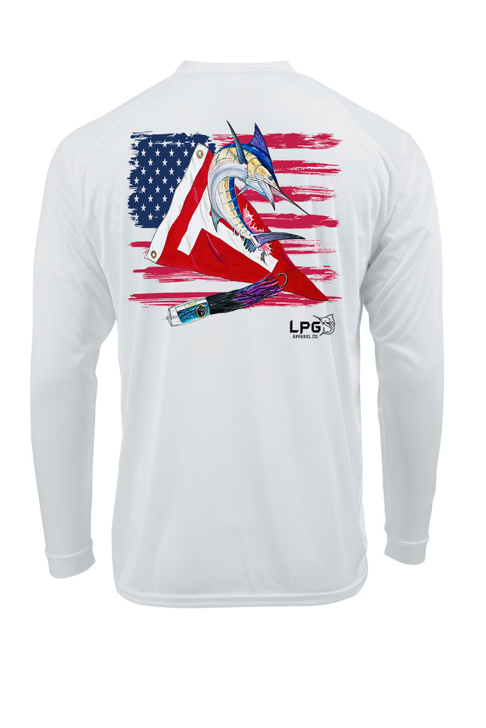 LPG Apparel Co® Tag & Release USA Flag Edition Long Sleeve Performance UPF 50+ T-Shirt, Offshore Fishing T-Shirt, Fishing Tee, Fishing Apparel