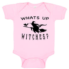 Load image into Gallery viewer, WHATS UP WITCHES Broom Stick Witch Themed Halloween Costume Bodysuit Romper