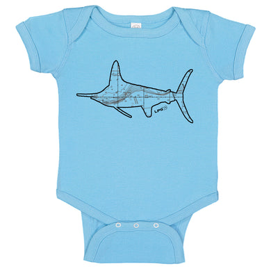 White Marlin Northeast Canyon Fishing Map Bodysuit Romper by LPG Apparel Co.