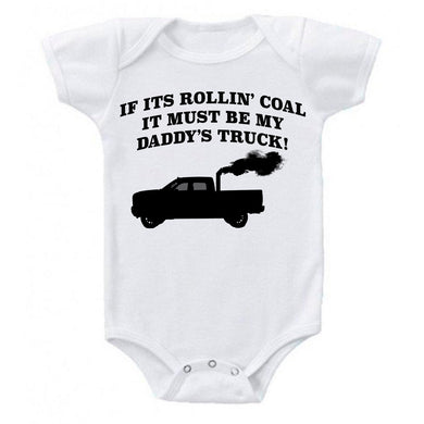 Snappy Suits My Daddy's Rollin Coal 4x4 Diesel Pickup Truck Short Sleeve Baby Creeper 1Z Infant Suit Romper