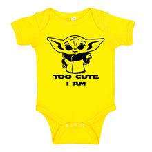 Load image into Gallery viewer, Ink Trendz® Too Cute Am I Baby Yoda Funny Baby One-Piece Bodysuit baby onesie, star wars onesie, star wars baby, baby yoda onesie