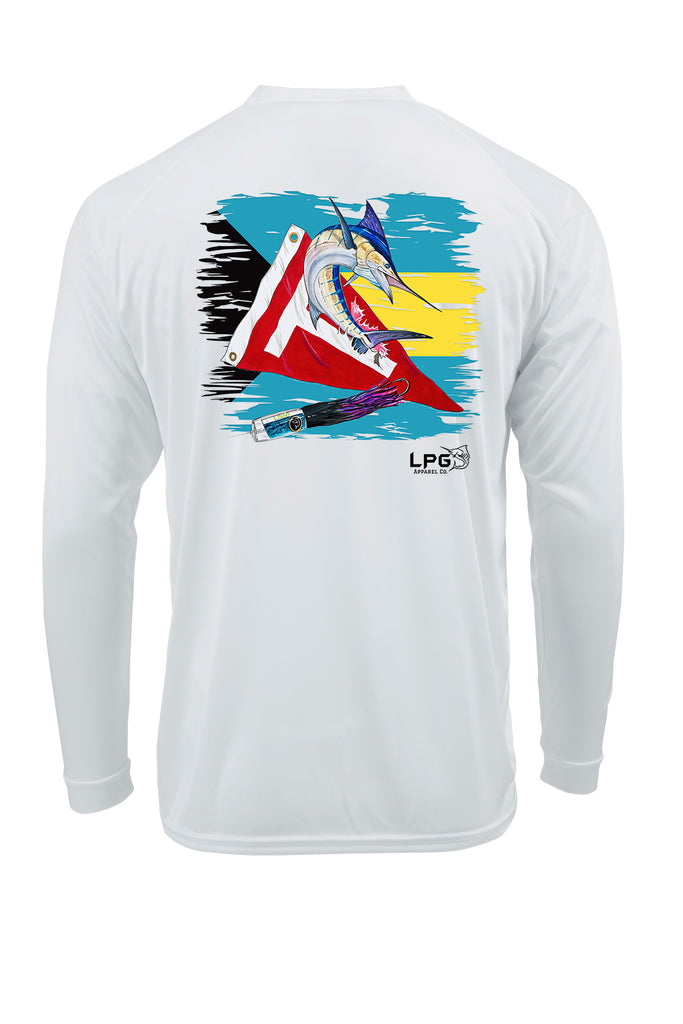 LPG Apparel Co® Tag & Release Bahamas Flag Edition Long Sleeve Performance UPF 50+ T-Shirt, Offshore Fishing T-Shirt, Fishing Tee, Fishing Apparel