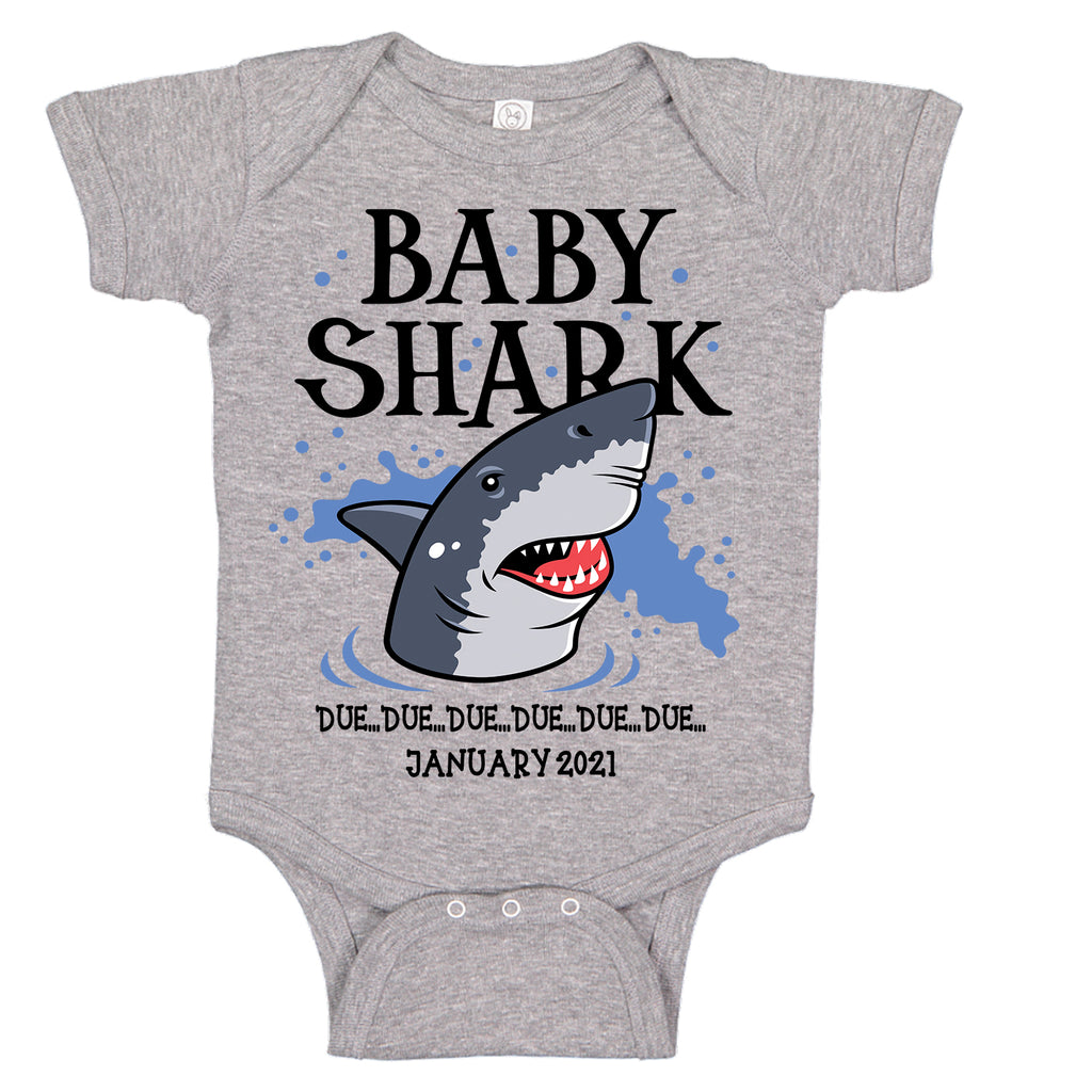 Ink Trendz® Baby Shark Due Pregnancy Reveal Announcement Baby Romper Bodysuit