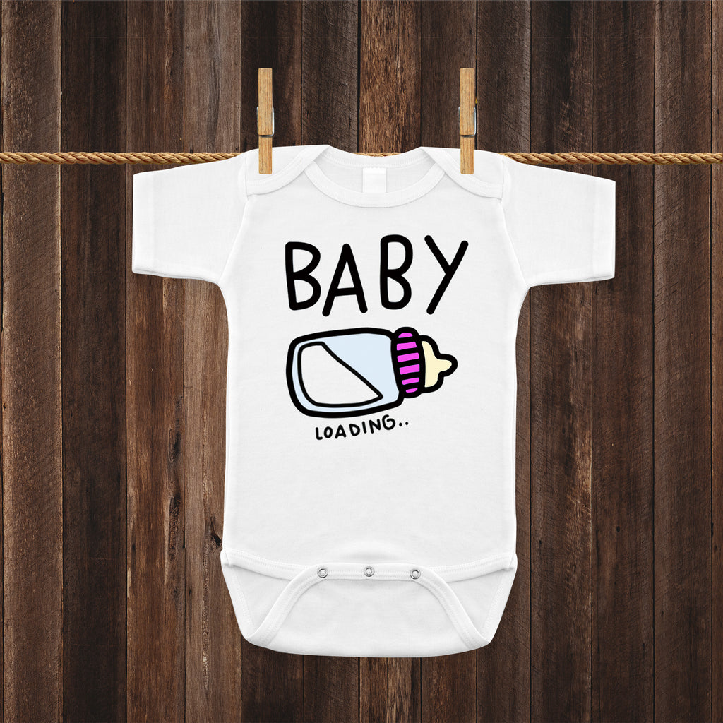 Baby Loading Baby Girl Bottle Pregnancy Reveal Announcement Baby Romper Bodysuit