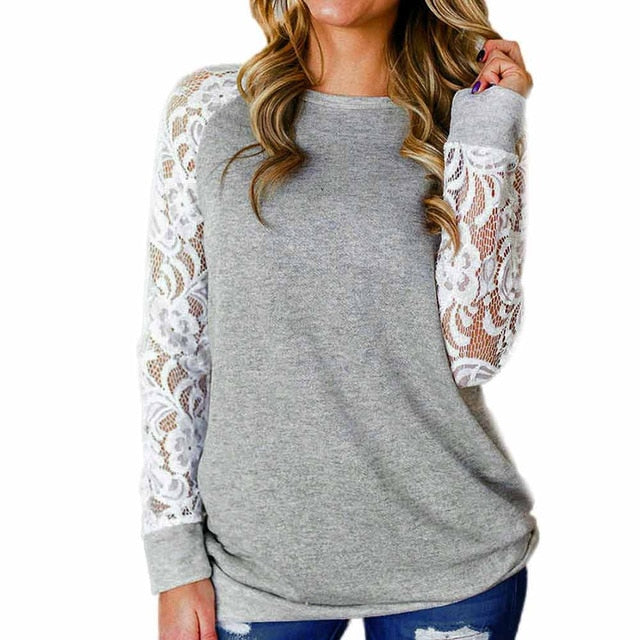 Ink Trendz Women's Fashion Lace Floral Long Sleeve Sweatshirt