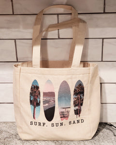 LPG Apparel Co. Surf. Sun. Sand. Surfing Themed  10oz. Natural Canvas Cotton Tote