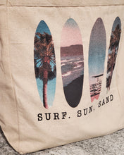 Load image into Gallery viewer, LPG Apparel Co. Surf. Sun. Sand. Surfing Themed  10oz. Natural Canvas Cotton Tote