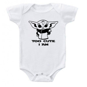 Ink Trendz® Too Cute Am I Baby Yoda Funny Baby One-Piece Bodysuit baby onesie, star wars onesie, star wars baby, baby yoda onesie