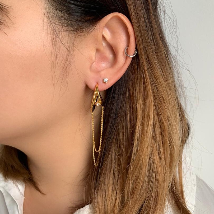 Less Is More Diamante Drop Chain Earrings