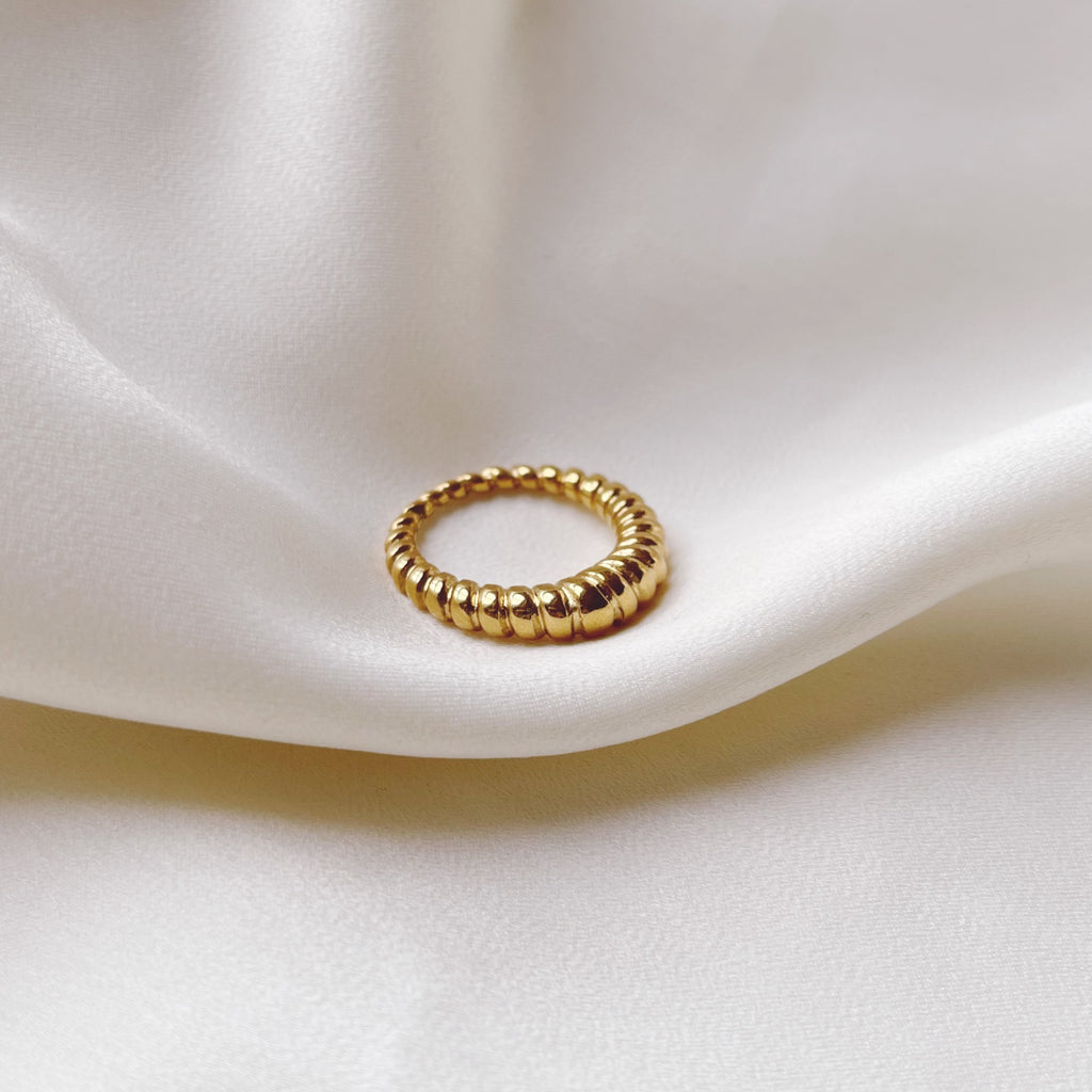 Thin Croissant Dome Gold Ring