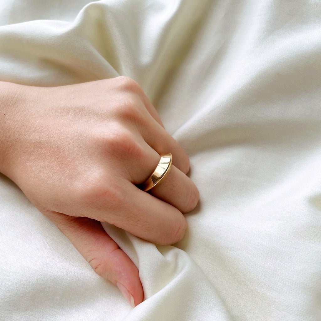 Chunky Faceted Gold Signet Ring