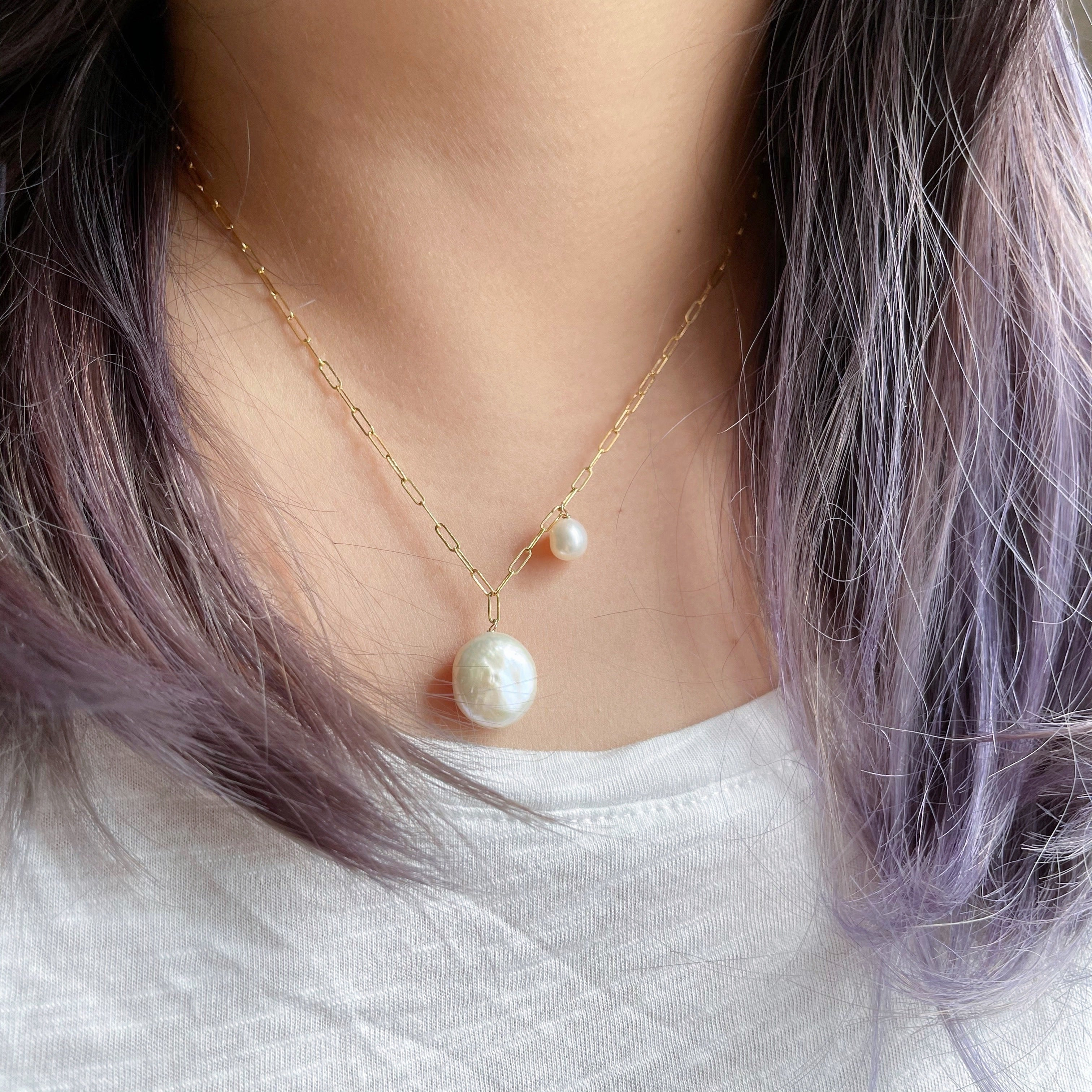 Duo Pearl Pendant Necklace