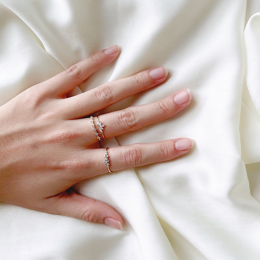 Fine Line Diamante Gold Ring