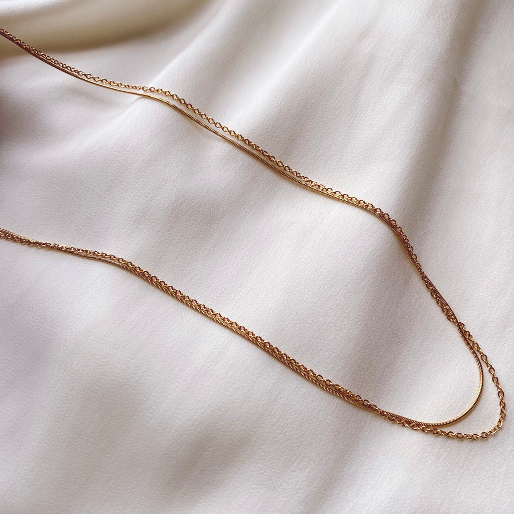 Thin Curb Chain Layer Duo Necklace