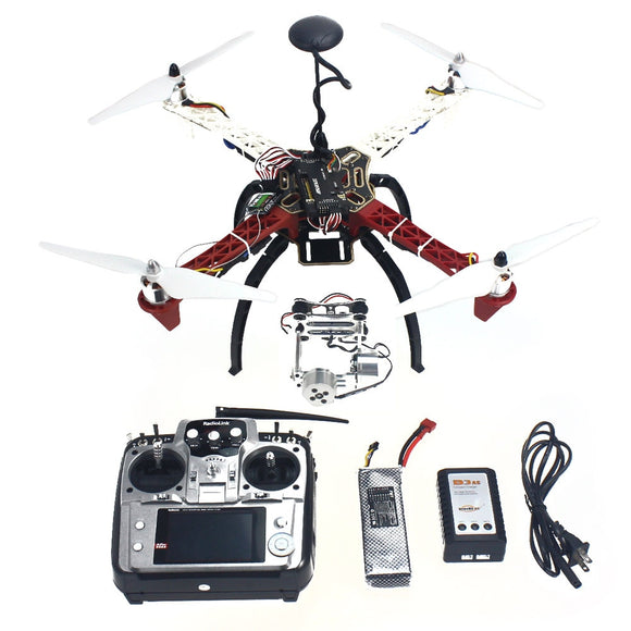 F02192-R 4-axis Aircraft Quadrocopter Helicopter RTF F450-V2 Frame GPS APM2.8 Aerial FPV PTZ AT10 TX Battery