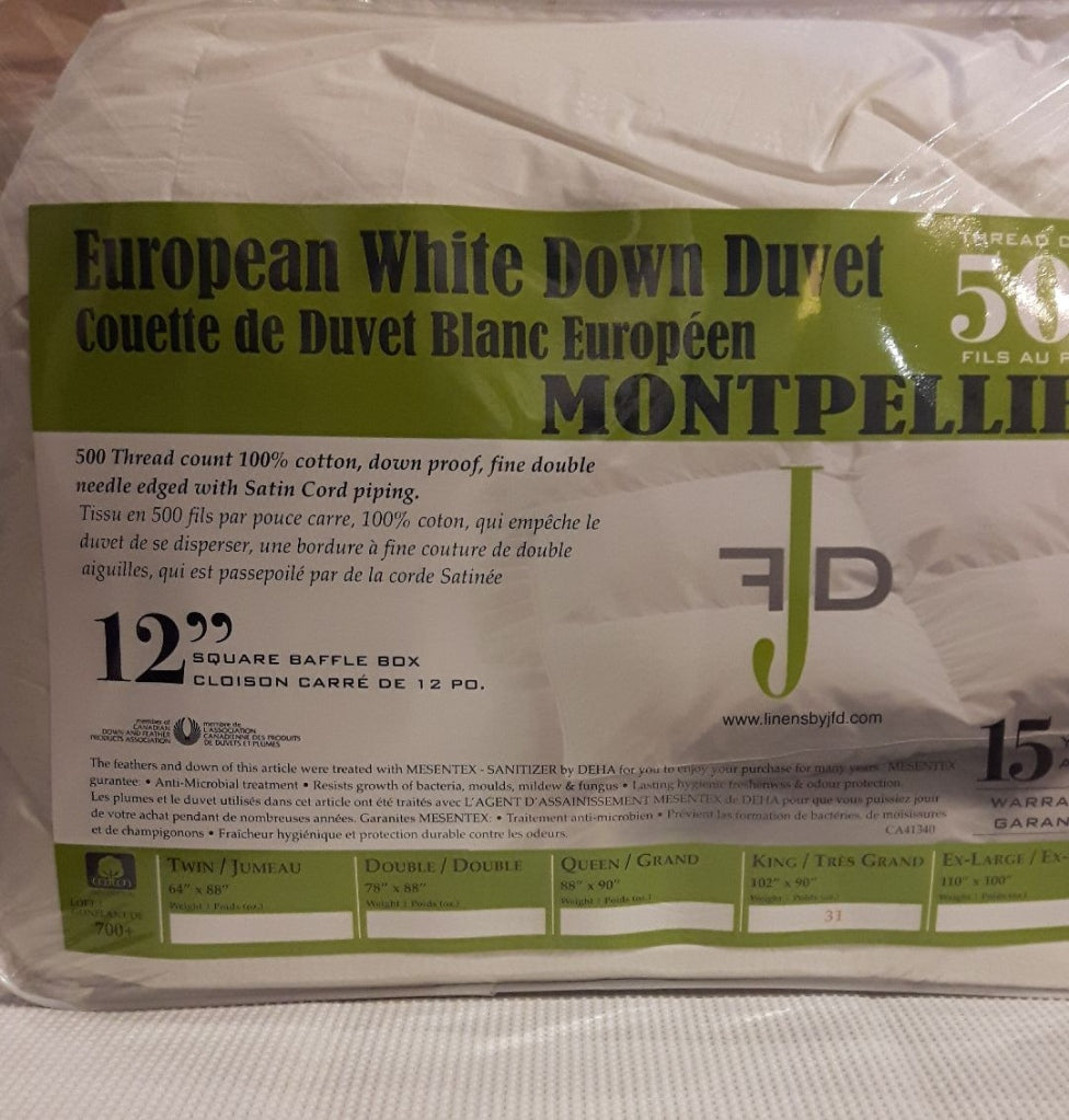 JFD MONTPELLO WHITE DOWN DUVET