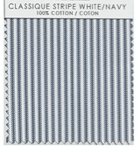 CLASSIQUE STRIPE WHITE/NAVY TABLE LINENS