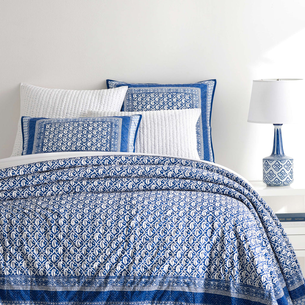 BATIK BLUE COVERLET & SHAMS