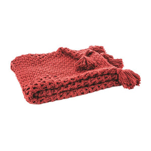 HOUMOUS RED KNITTED THROW