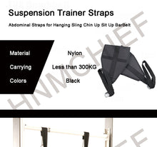 Load image into Gallery viewer, Ab Straps for Hanging Abdominal Raises Black