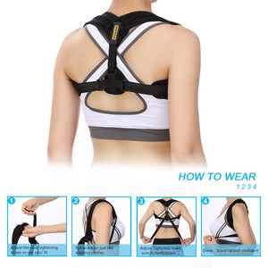 Adjustable Posture Corrector. Upper Back Postural Brace for Pain Relief